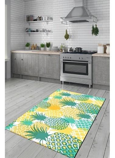 MarkaEv Kalpli Ananas Kitchen 81 Mutfak Halısı 133*190cm Renkli